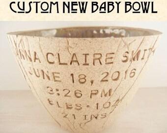 CUSTOM NEW BABY Pottery Bowl - Custom New Baby Gift / Personalized Baby Decor / Personalized Nursery Gift / Custom Nursery Decor