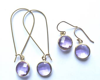 Lavender glass earrings - purple earrings, faceted glass earrings, purple drop earrings, glass sparkle