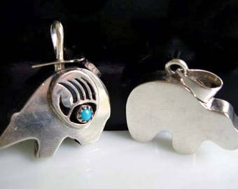 Bear Fetish Native American Pendant Charms, Bear Claw Symbol, Sterling Mexico Turquoise Stone, Spirit Animal, Totem Pendant, 10 Grams Silver