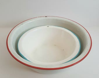 Vintage Enamel Bowl Set with Turquoise Blue and Red Rim / circa 1950's