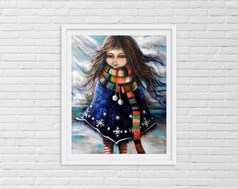 Winter Girl Art, Winter Girl, Winter Wall Art, Winter Beach Art, Winter Birthday, Winter Art Print, Nursery Art Print, Childrens Room Decor,