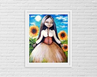 Sunflower Art, Sunflower Decor, Sunflower Painting, Sunflower, Sunflower Print, Sunflower Wall Art, Sunflower Art Print, Flower Art,