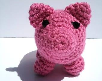 Pink Stuffed Pig,  Crochet Stuffed Animal, Amigurumi Pig, Childrens Toy