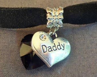Suede DDLG BDSM Day Choker Ribbon Daddy Heart Crystal Adult Baby Age Play Pet Kitten Little Girl Collar Submissive Sub Master Slave Cg/l