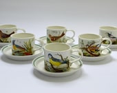 Portmeirion Birds of Britain Set of Six Cups and Saucers