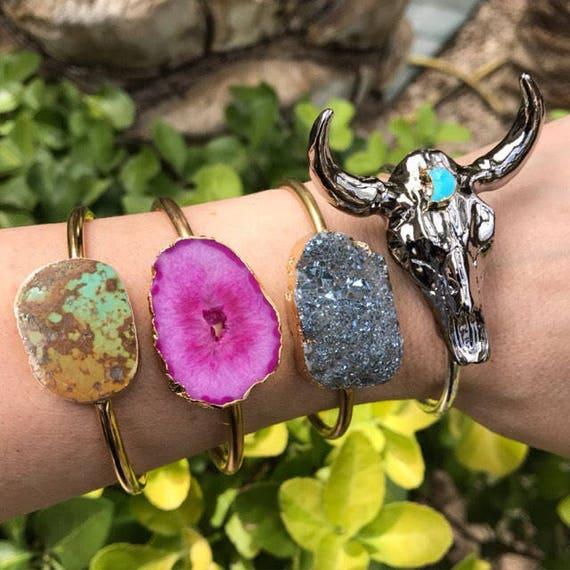 Turquoise Bracelets, Druzy Bracelets, Cuff Bracelets, Longhorn jewelry, geode jewelry, boho jewelry