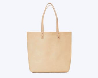 NO. 14 Nude Leather Tote, Leather Tote, Natural Leather Bag, Large Leather Shopper, Minimal Leather Bag, Work Bag, Women Leather Bag