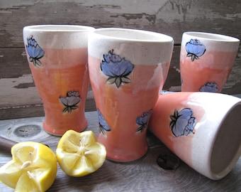 tumblers, coffee mugs pottery cup, poppy mug,ceramic cup, ceramics and pottery, green tea, tea, stemless wineglass