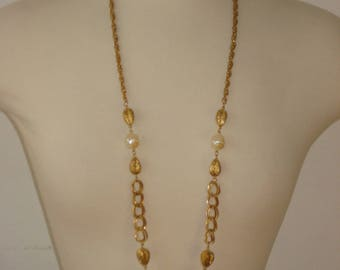 Vintage Long Chain Gold Necklace - Beaded Pearl Chain - Flapper Jewelry 1970s - 40 inches