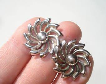 Vintage Silver Spiral Flower Earrings Screw Back - Retro 1960's Jewelry