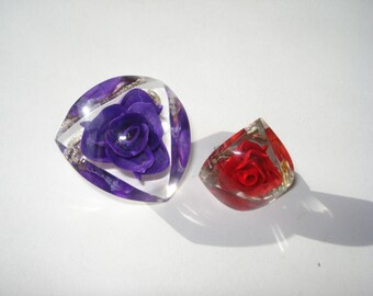 Vintage Lucite Red and Purple Rose Brooches - Chunky Fashion Pins Jewelry  Pin - 1960s
