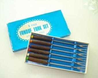 Vintage Fondue Forks  - Teak Serving Utensils - Short Fondu Forks Set of 6 - Japan - 1960s
