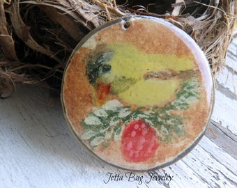 Goldfinch with Berry- art resin pendant original painting. goldfinch bird bead. brass bead. rustic nature woodland bead. Jettabugjewelry