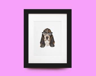 Basset Hound Portrait Print
