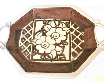 Vintage Art Pottery Tray, handmade stoneware, glazed brown and white tones, farmhouse style decor, drink serving tray