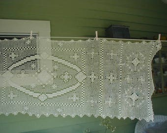 "Vintage Hand Made Table Topper, Large Size 76 x 24 1/2"", Off White Lace, Tablecloth Overlay"