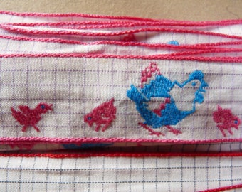 STRIPE cotton embroidered little turquoise chicken