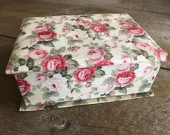 French Floral Fabric Covered Jewelry Box, Pink Cabbage Roses, Pull Out Tray, Fabric Sewing Box