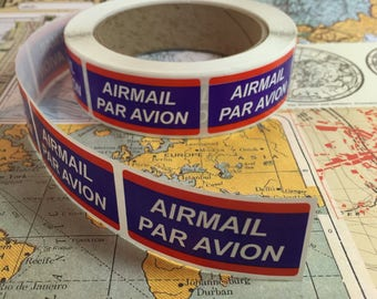 25 Air Mail Labels / Airmail Par Avion Blue Red Labels for Altered Art, Mixed Media, Journals, Scrapbooks