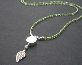Natural Gemstone Arizona Peridot, Karen Hill Tribe Silver Pendant Necklace, August Birthstone