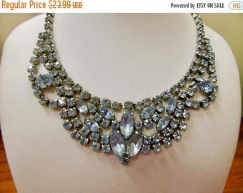 On Sale Vintage Prong Set Blue Rhinestone Necklace Item K # 572