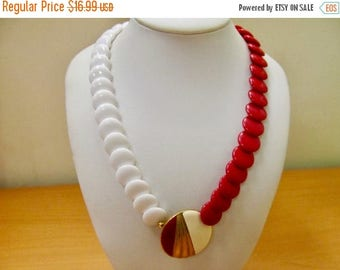 ON SALE TRIFARI Retro Red and White Plastic Enameled Necklace Item K # 53