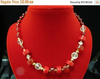 ON SALE Vintage Red Glass Beaded Necklace Item K #1277