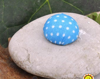 1 cabochon polka dot fabric turquoise craft 20mm round