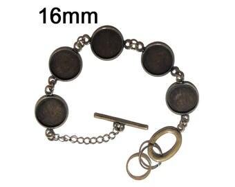 Bronze bracelet holder for 5 cabochons 16mm x 1