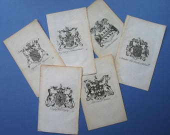 c1800s Armorial / Coat of Arms English Nobility Prints - Numbered Plates