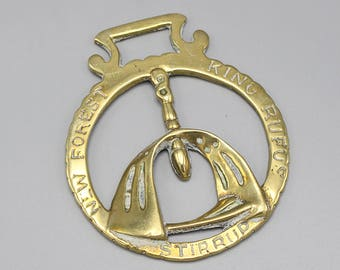 Small Round New Forest King Rufus Stirrup Horse Brass Hanging Ornament