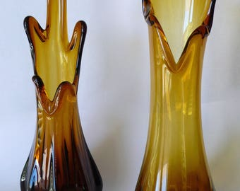 Vintage L E Smith Amber Swung Glass Vase Mid-Century Simplicity Line Stretch Vase Lot of 2