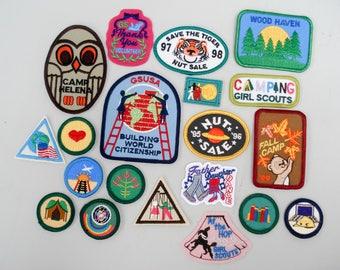 Vintage girl scout badges - set of 20