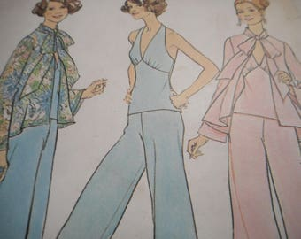 Vintage 1970's Simplicity 7012 Top, Halter Top and Pants Sewing Pattern Size 12 Bust 34