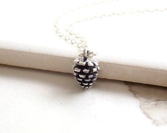 Sterling Silver Pinecone Necklace. Nature Jewelry, Silver Pinecone, Pinecone Charm