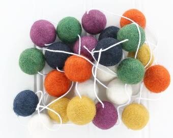 Felt Ball Garland - Vintage, Gender Neutral Pom Pom Garland, Nursery Decor, Mantle Decor, Felt Ball Bunting, Wall Hanging, Fall Garland