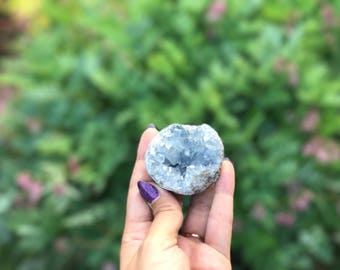 Celestite Geode, With Stand, Small Celestite Geode, Intrinsic Journeys Crystals