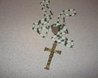 Czechoslovakia  Rosary Glass Beads Necklace Vintage Costume Jewelry #2819