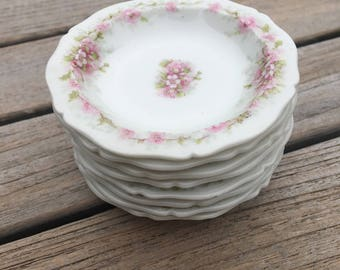THEODORE HAVILAND LIMOGES France Butter Pats - Beautiful - Set of 8  Dainty Pink with Green Flowers
