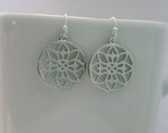 Modern silver mandala flower earrings, simple silver filigree earrings