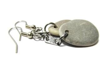 Grace Full Gray Beach Stone Earrings, John 3:16 Earrings, 316 Metal Tags, Stainless Steel, Fish Hook, Hypoallergenic, Lake Michigan Stones