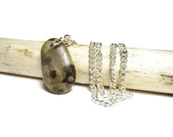 Lil' Petoskey Stone Pendant Handmade Fossil Necklace by ShorelineDesigned, Natural Petoskey Stone Necklace 18 In Silver Tone Necklace