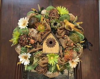 Spring/Summer Birdhouse Burlap and Mesh Wreath