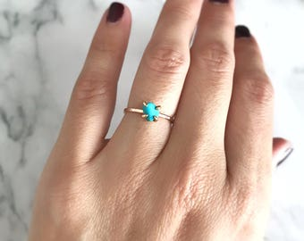 Turquoise Ring, Gold Gemstone Ring, December Birthstone Ring, Rose Gold Ring, Engagement Ring for Women, Anniversary Ring