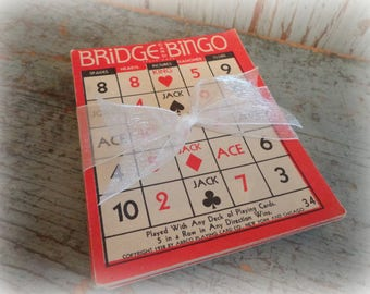 vintage bingo card set, vintage bridge game cards, 1938 card games, craft project supplies, mixed media art supplies, playing cards, red