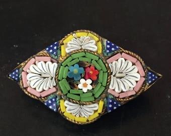 1920s Vintage ITALIAN MOSAIC BROOCH Mosaic Pin Made in Italy Italian Souvenir Italian Glass Pin Diamond Shaped Mosaic