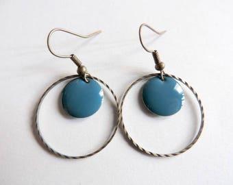 Earrings - peacock blue confetti