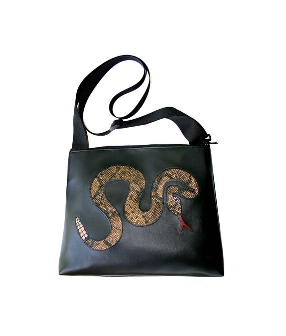 Rattlesnake, black, snake, vinyl, vegan, vegan leather, large, cross body bag