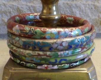 5 vintage brass cloisonne bracelets bangles one hinged boho hippie colourful