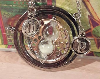 Next day ship- personalized silver Harry Potter Time Turner necklace H and P for harry potter or use your own initials Hogwarts classes